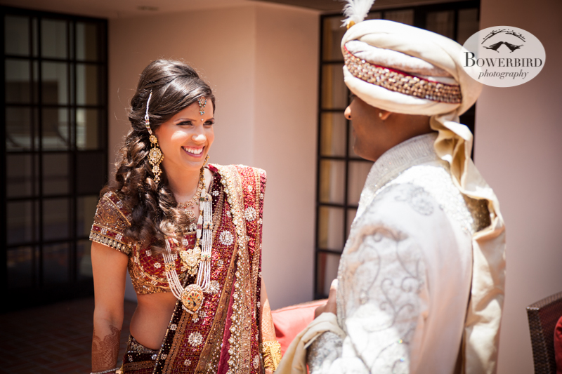 Doesn't the bride look amazing!!! © Bowerbird Photography 2013, First Look, South Asian Wedding at the San Francisco JW Marriott and Winery SF on Treasure Island.