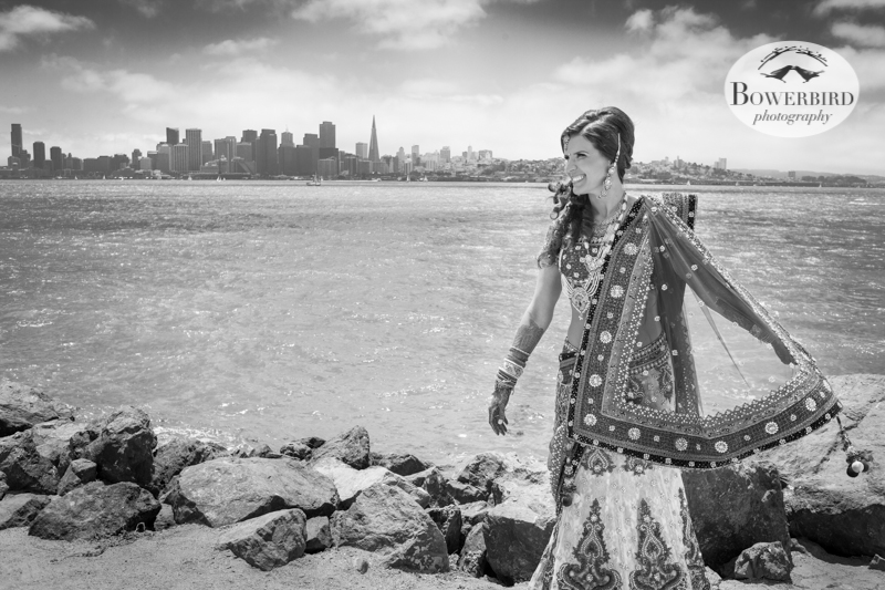 The bride with a view of San Francisco and the Bay. © Bowerbird Photography 2013, View of San Francisco from Treasure Island, South Asian Wedding at the Winery SF on Treasure Island.