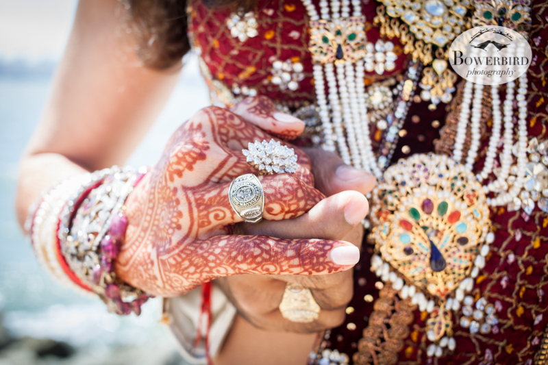 So much bling! The bride and groom wear their Culver class rings.  © Bowerbird Photography 2013, South Asian Wedding at the Winery SF on Treasure Island.