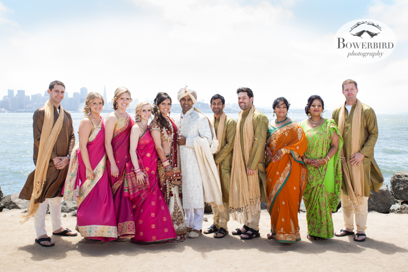 The wedding party looks amazing in their colorful dress.   © Bowerbird Photography 2013, Wedding Party Pic, Treasure Island, South Asian Wedding at the Winery SF on Treasure Island.