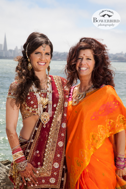 The lovely bride and her mom. © Bowerbird Photography 2013, View of San Francisco from Treasure Island, South Asian Wedding at The Winery SF on Treasure Island.