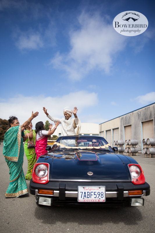 The baraat begins! © Bowerbird Photography 2013, South Asian Wedding at the San Francisco Winery SF on Treasure Island.