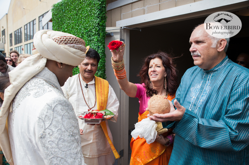 Avneesh is blessed by the brides family. © Bowerbird Photography 2013, South Asian Wedding at the San Francisco Winery SF on Treasure Island.