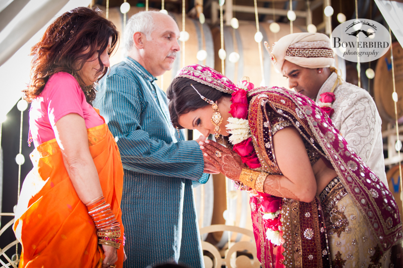 Thanking their parents. © Bowerbird Photography 2013, South Asian Wedding at the San Francisco Winery SF on Treasure Island.