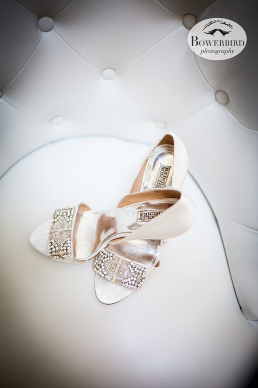 The bride's beautiful Badgley Mischka wedding shoes. © Bowerbird Photography 2013, Wedding at the San Francisco Winery SF on Treasure Island.