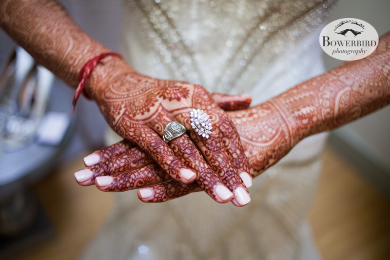 Angelica's beautiful henna and her pretty bling. © Bowerbird Photography 2013, Wedding at the San Francisco Winery SF on Treasure Island.