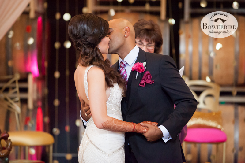 THE KISS! © Bowerbird Photography 2013, Wedding at the San Francisco Winery SF on Treasure Island.