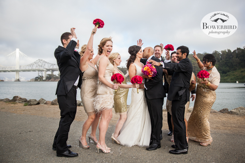 Bridal party partying with the bride + groom! © Bowerbird Photography 2013, Wedding at the San Francisco Winery SF on Treasure Island.
