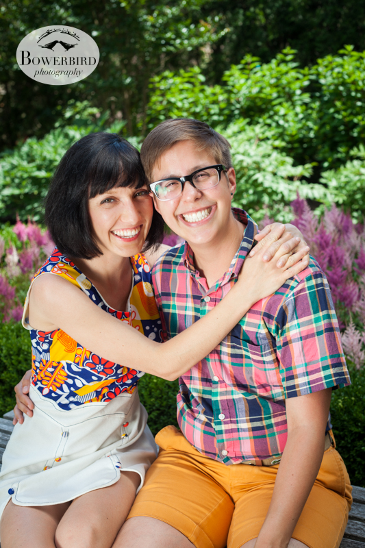 So cute! © Bowerbird Photography 2013, anniversary photos, LGBTQ couples photo session in Longwood Gardens, Pennsylvania.