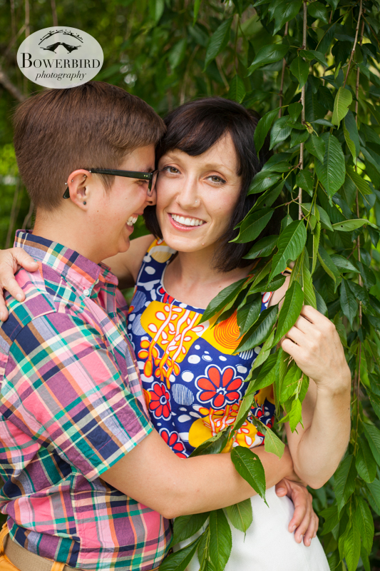 Making out in the willow tree. © Bowerbird Photography 2013, anniversary photos, LGBTQ couples photo session in Longwood Gardens, Pennsylvania.