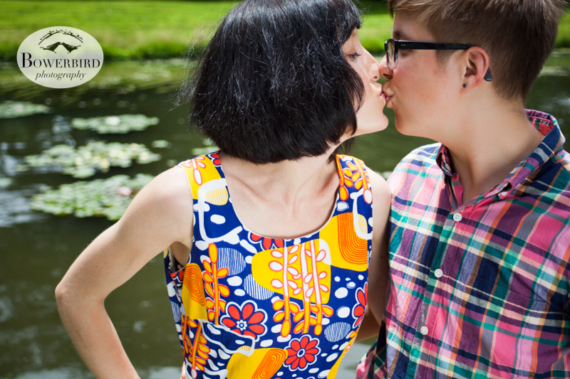 Smooooch. © Bowerbird Photography 2013, anniversary photos,  LGBTQ couples photo session in Longwood Gardens, Pennsylvania.
