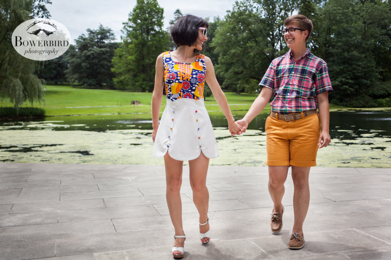 Walking hand in hand. © Bowerbird Photography 2013, anniversary photos, LGBTQ couples photo session in Longwood Gardens, Pennsylvania.