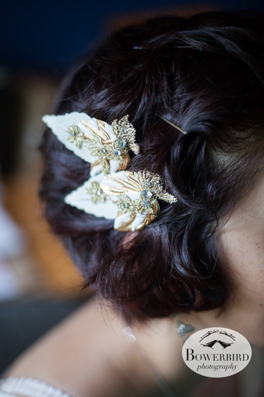 The bride's hair clips. © Bowerbird Photography 2013, Destination Wedding Photography in the Brandywine Valley, Pennsylvania.