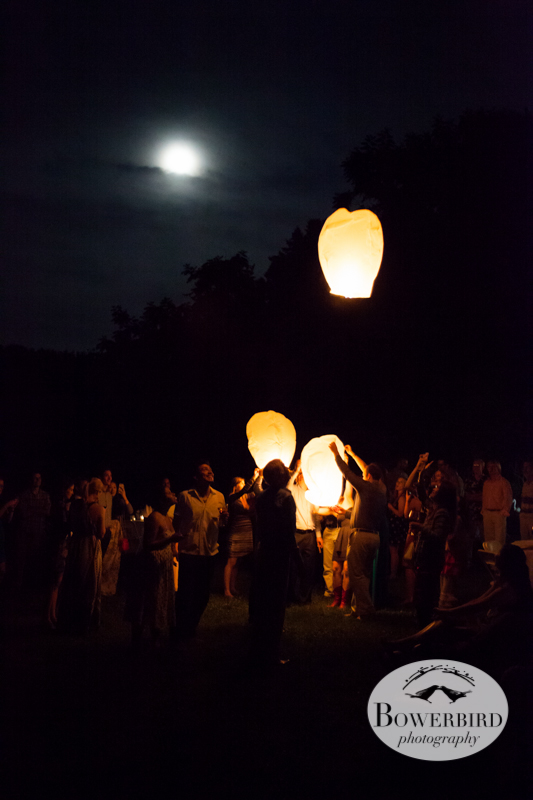 A full moon as guests light lanterns. © Bowerbird Photography 2013, Destination Wedding Photography in the Brandywine Valley, Pennsylvania.