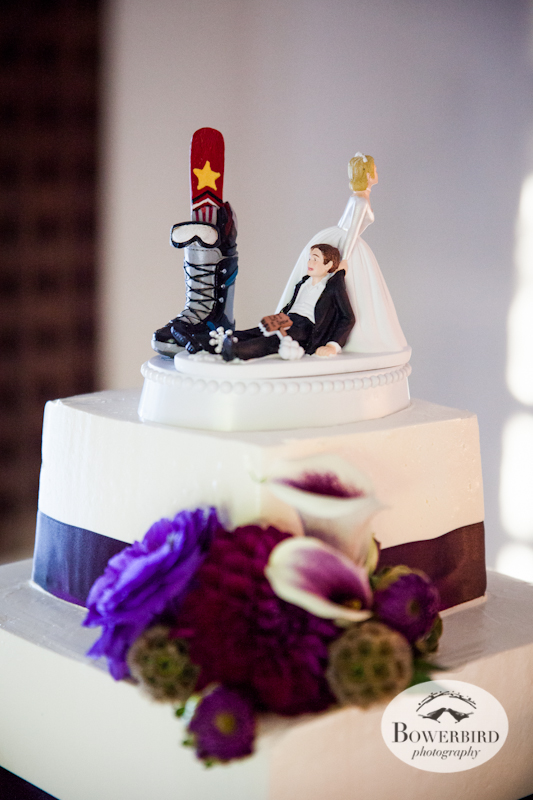 Custom Snowboarding Wedding Cake Topper. Wente Vineyards Wedding Photography in Livermore. © Bowerbird Photography 2013.