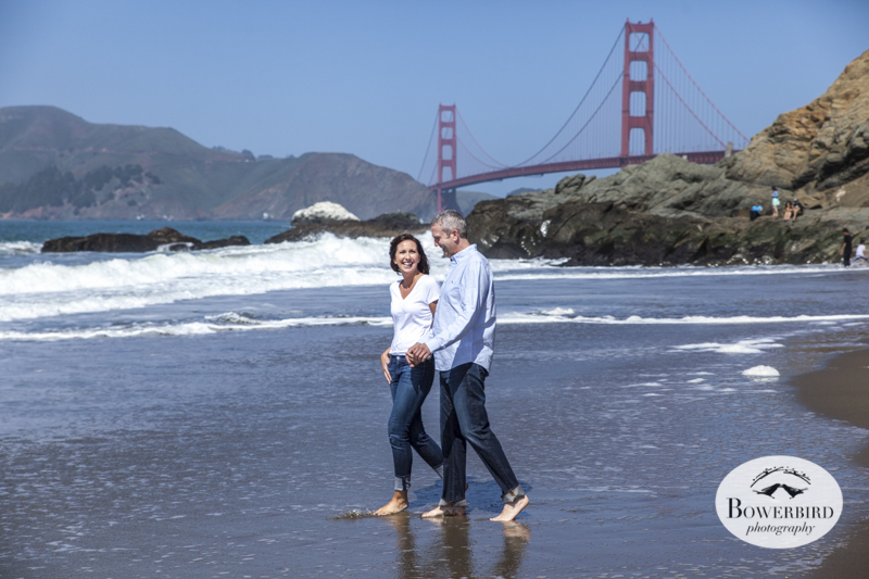 San Francisco Engagement Photo Session at Baker Beach with the Golden Gate Bridge. © Bowerbird Photography, 2014