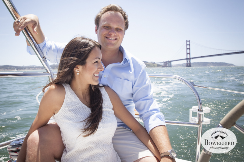 Sausalito Engagement Photo Session on a sailboat with the Golden Gate Bridge. © Bowerbird Photography, 2014