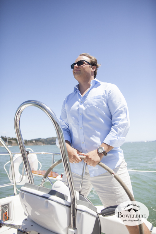 Sausalito Engagement Photo Session on a sailboat. © Bowerbird Photography, 2014