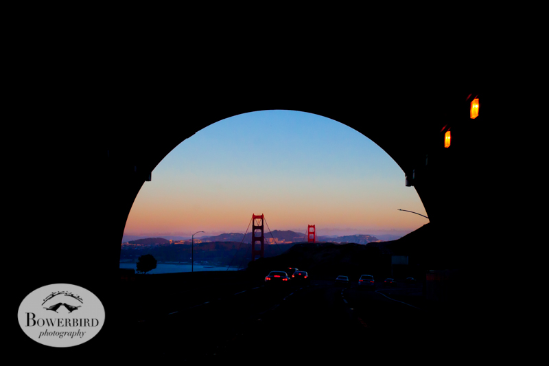 Golden Gate Bridge at sunset through the rainbow tunnel. © Bowerbird Photography 2014