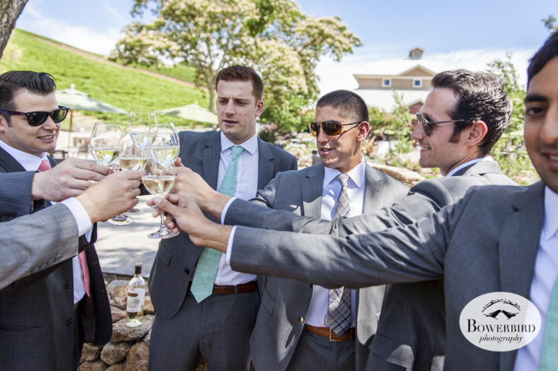 These guys have flown in from all over the country to be with Jon, and clink their glasses together like a group of Musketeers. (Kunde Family Estate Wedding Photography in Kenwood. © Bowerbird Photography 2014)
