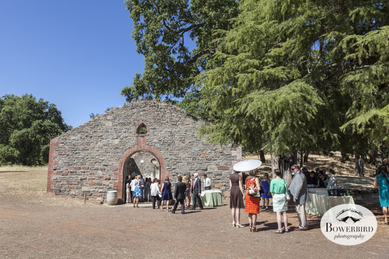 Guests line up to enter the ancient ruins for the wedding ceremony. (Kunde Family Estate Wedding Photography in Kenwood. © Bowerbird Photography 2014)