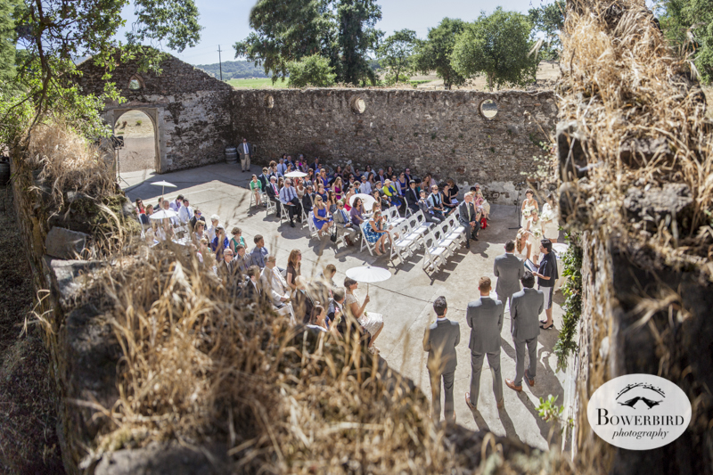 A bird's eye view of the wedding ceremony in the Kunde Ruins. (Kunde Family Estate Wedding Photography in Kenwood. © Bowerbird Photography 2014)
