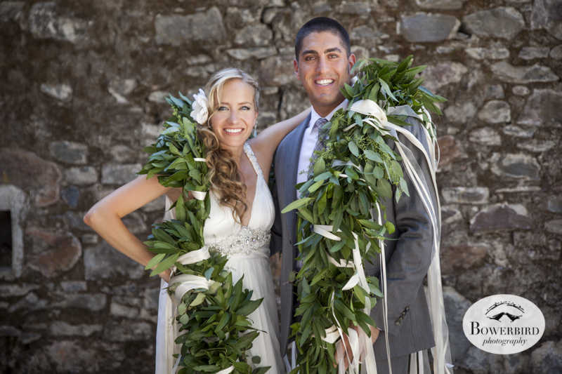 The bride and groom with a lei of bay leaves! (Kunde Family Estate Wedding Photography in Kenwood. © Bowerbird Photography 2014)
