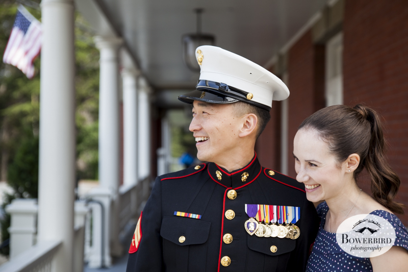 Inn at the Presidio, in Marine Corps Dress Blues. S.F. Engagement Photo Session.   © Bowerbird Photography 2014