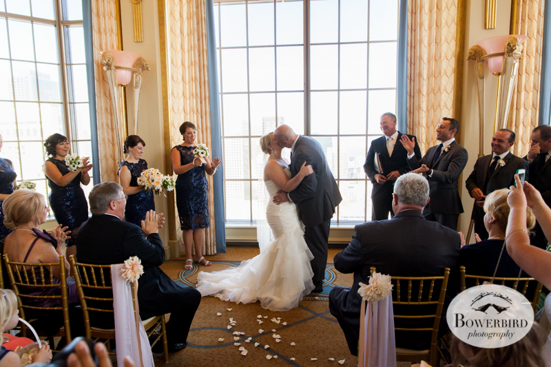The Kiss! Westin St. Francis wedding ceremony on Imperial Floor. © 2014 Bowerbird Photography.jpg