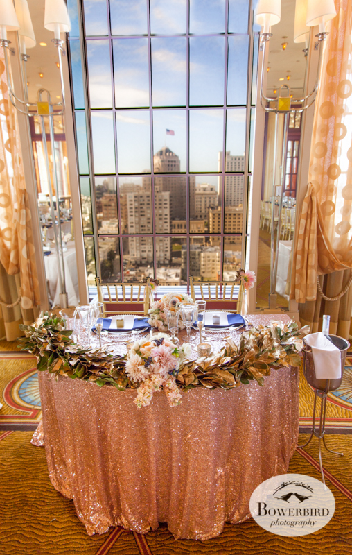 Sweetheart table. Wedding Reception at Alexandra's Room at Westin St. Francis Hotel © Bowerbird Photography 2014