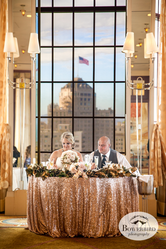 The bride and groom dine. Westin St Francis Hotel in San Francisco. © Bowerbird Photography 2014