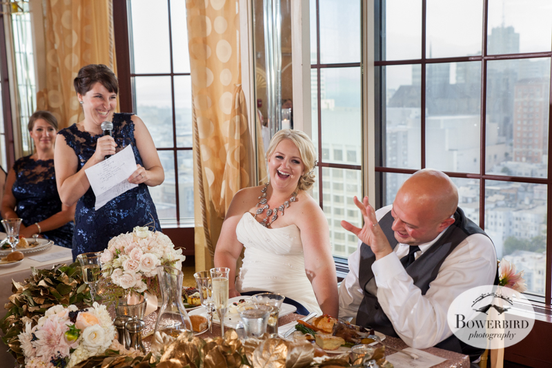 The room erupts in laughter during the toast. Westin St. Francis Hotel Wedding © Bowerbird Photography 2014