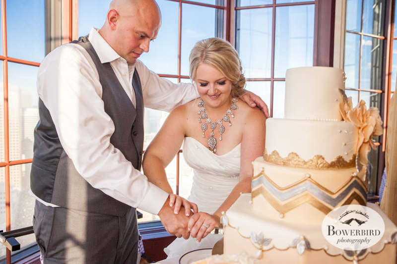Time to cut the wedding cake. Westin St. Francis Wedding © Bowerbird Photography 2014