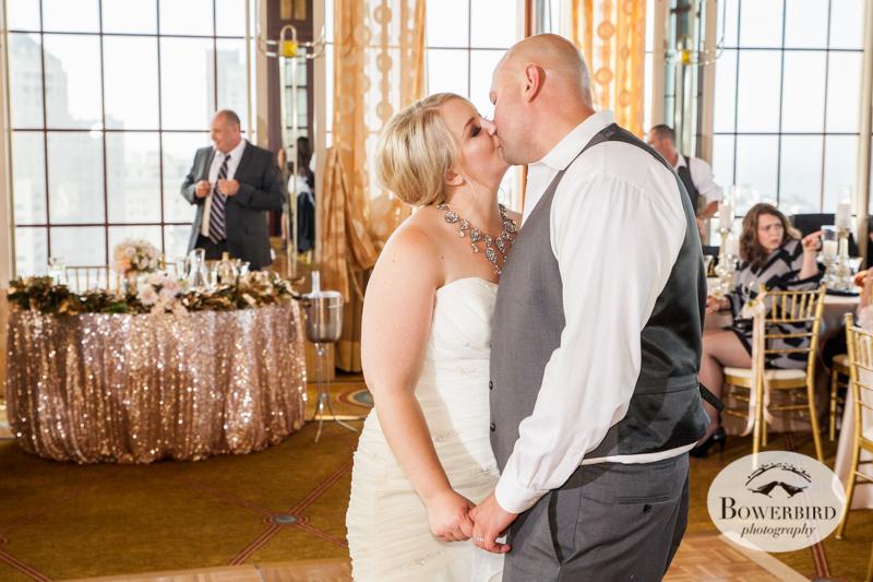 Kissing on the dance floor. St. Francis Hotel Wedding © Bowerbird Photography 2014