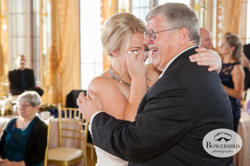 Bride tears up while dancing with dad. St. Francis Hotel wedding. © Bowerbird Photography 2014