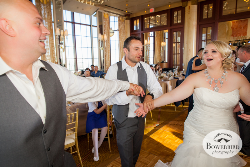The best man brings the bride and groom together to dance! Westin St. Francis wedding © Bowerbird Photography 2014