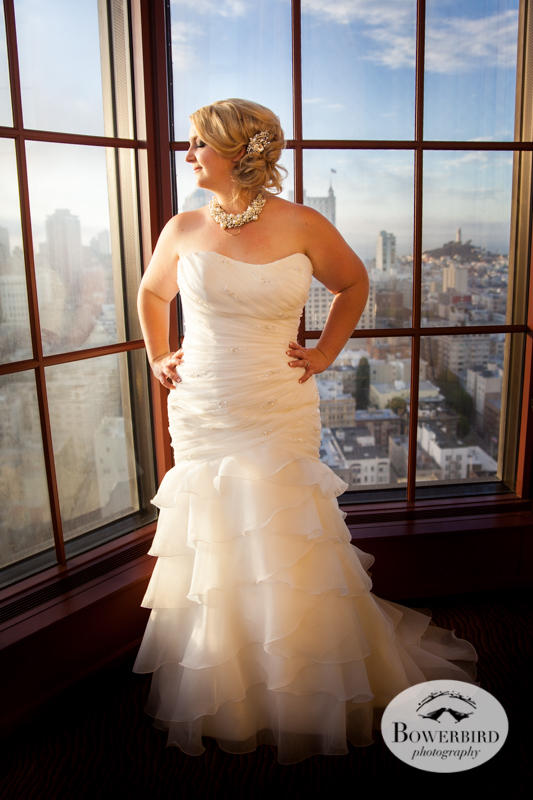 The beautiful bride at sunset. Westin St. Francis Hotel Wedding. © Bowerbird Photography 2014