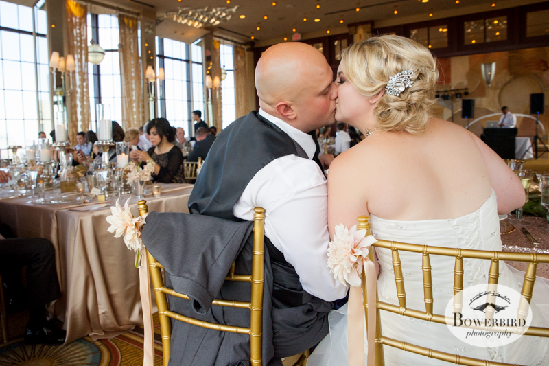 The bride and groom sneak a kiss! Westin St. Francis Hotel Wedding © Bowerbird Photography 2014