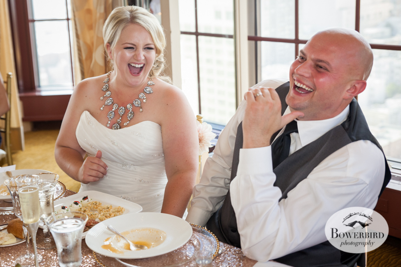 The bride and groom share a laugh. Westin St. Francis Hotel © Bowerbird Photography 2014