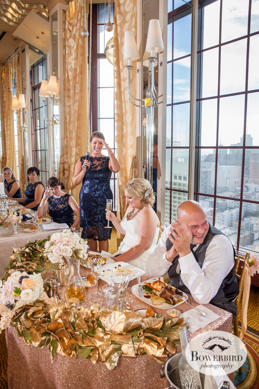 Applauding for the toast. Westin St. Francis Hotel Wedding in SF © Bowerbird Photography 2014