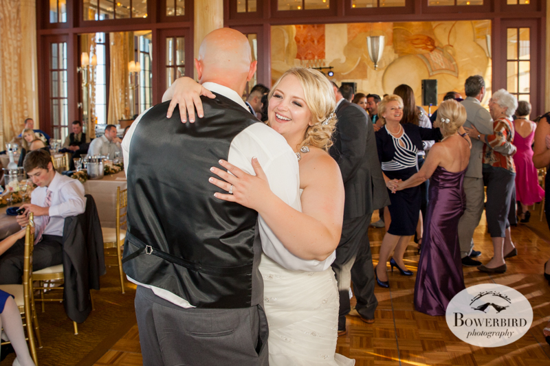 The bride and groom dance among their guests. Westin St. Francis. © Bowerbird Photography 2014