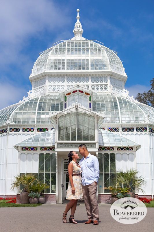 San Francisco Engagement Photo Session in Golden Gate Park at the Conservatory of Flowers. © Bowerbird Photography 2014