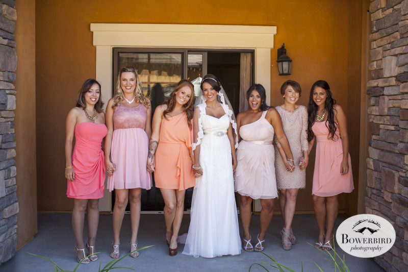 The bridesmaids look wonderful in different shades of blush. Meritage Resort & Spa. © Bowerbird Photography 2014