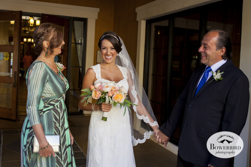 The bride shares a laugh with her parents. Meritage Resort & Spa. © Bowerbird Photography 2014