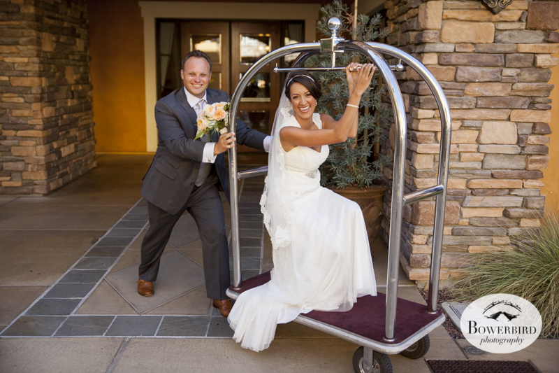 The groom carts his bride away.  Napa Valley wedding at the Meritage. © Bowerbird Photography 2014