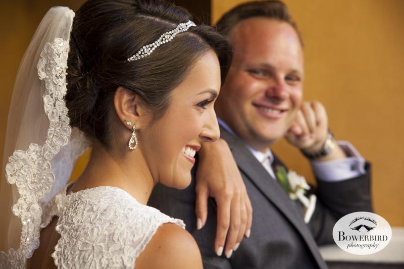 The groom admires his bride. Napa Valley wedding at the Meritage Resort.© Bowerbird Photography 2014