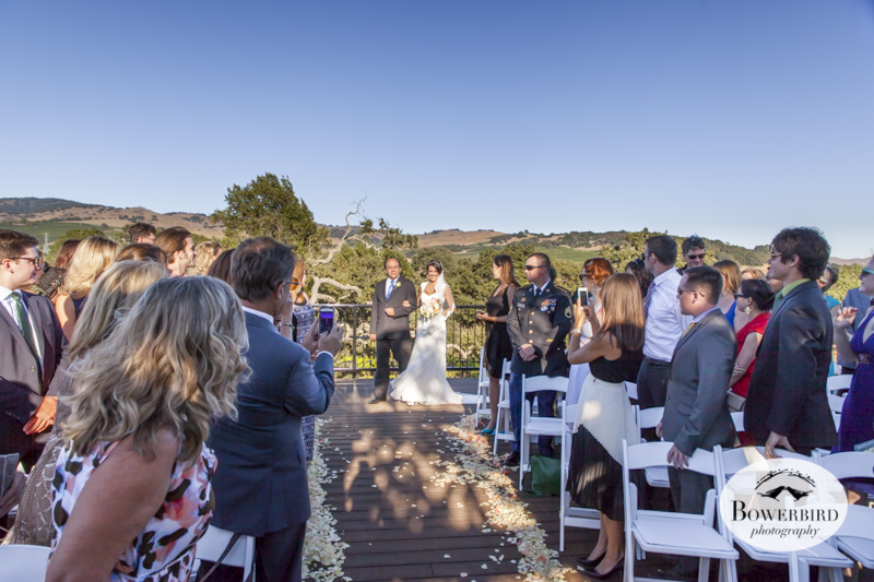 The father of the bride walk his daughter down the aisle at the Meritage. © Bowerbird Photography 2014