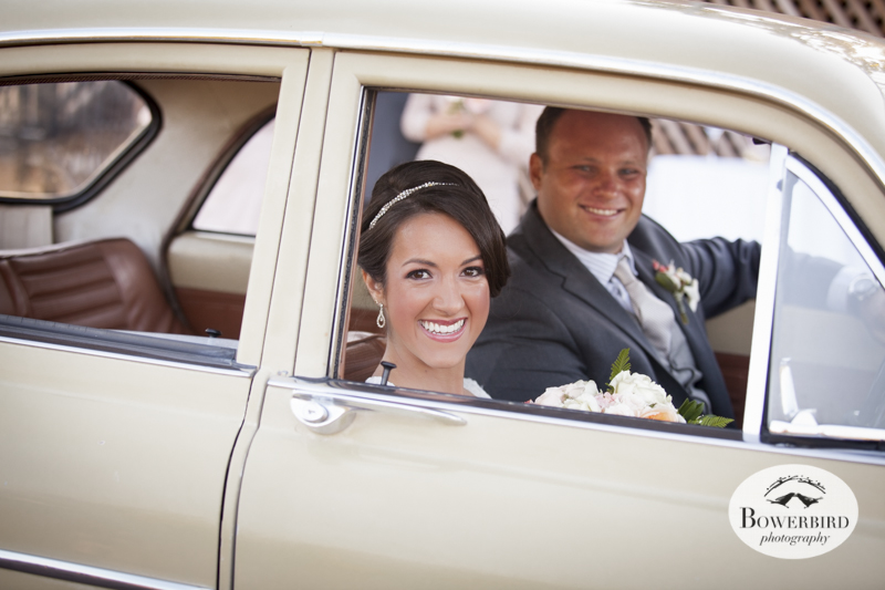 They whisk away in a vintage car after the wedding ceremony. Meritage Resort and Spa in Napa.© Bowerbird Photography 2014