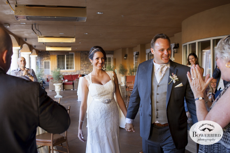 The bride and groom at cocktail hour.Meritage Resort and Spa wedding.© Bowerbird Photography 2014