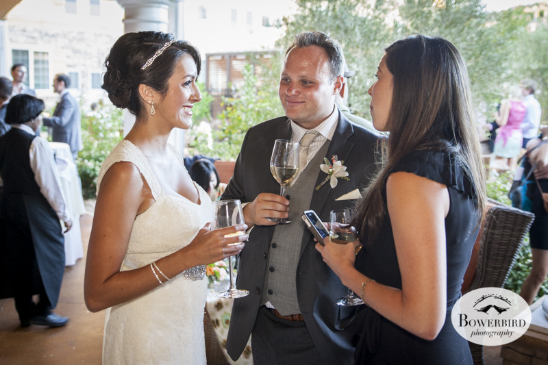 Meritage Resort and Spa wedding. The couple relaxes with guests during cocktail hour.© Bowerbird Photography 2014